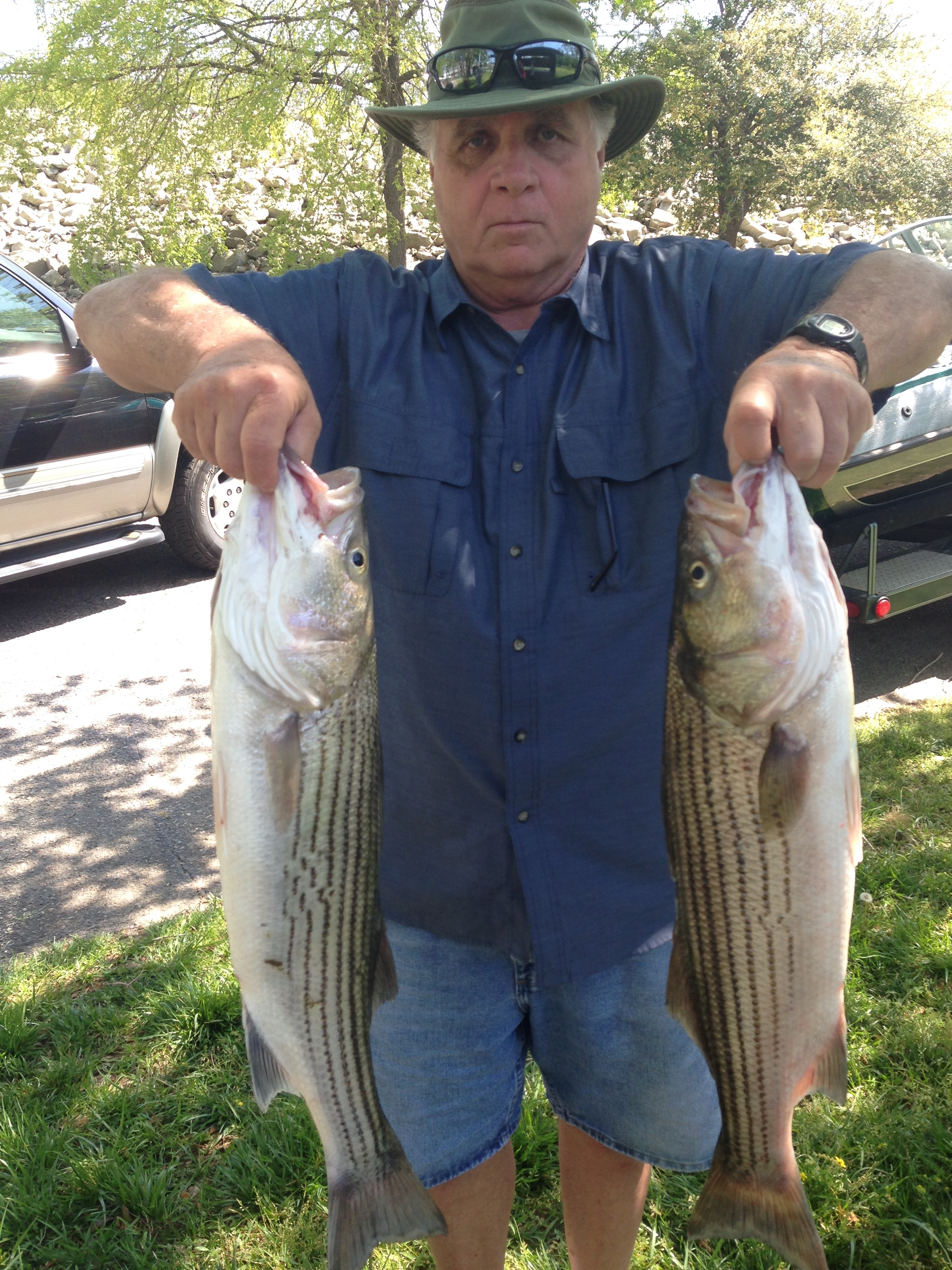 April 14, 2017 Jim Thouvenot with two 10 lbs stripers.