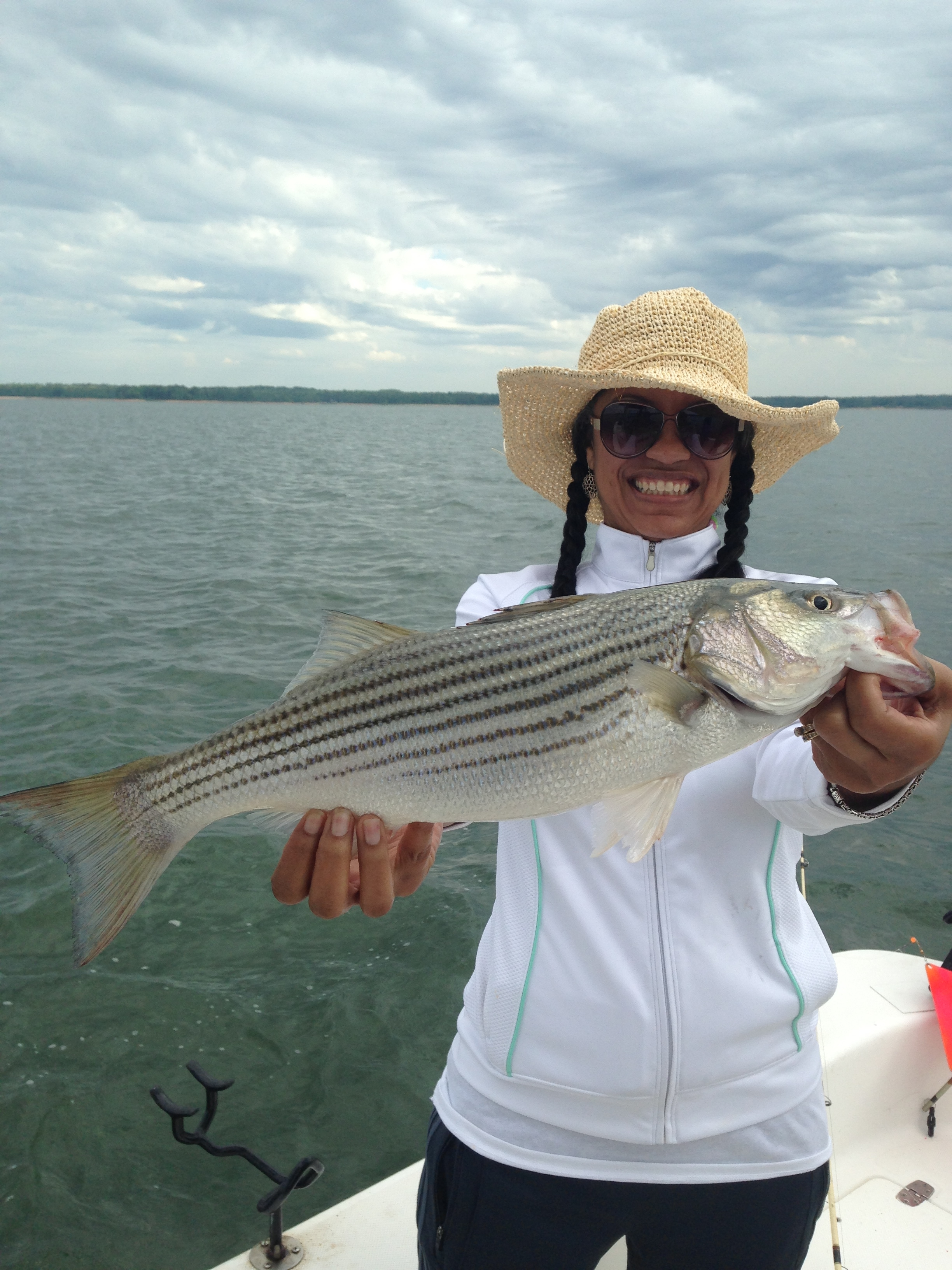 April 22, 2017 Tara Cook with her big striper.