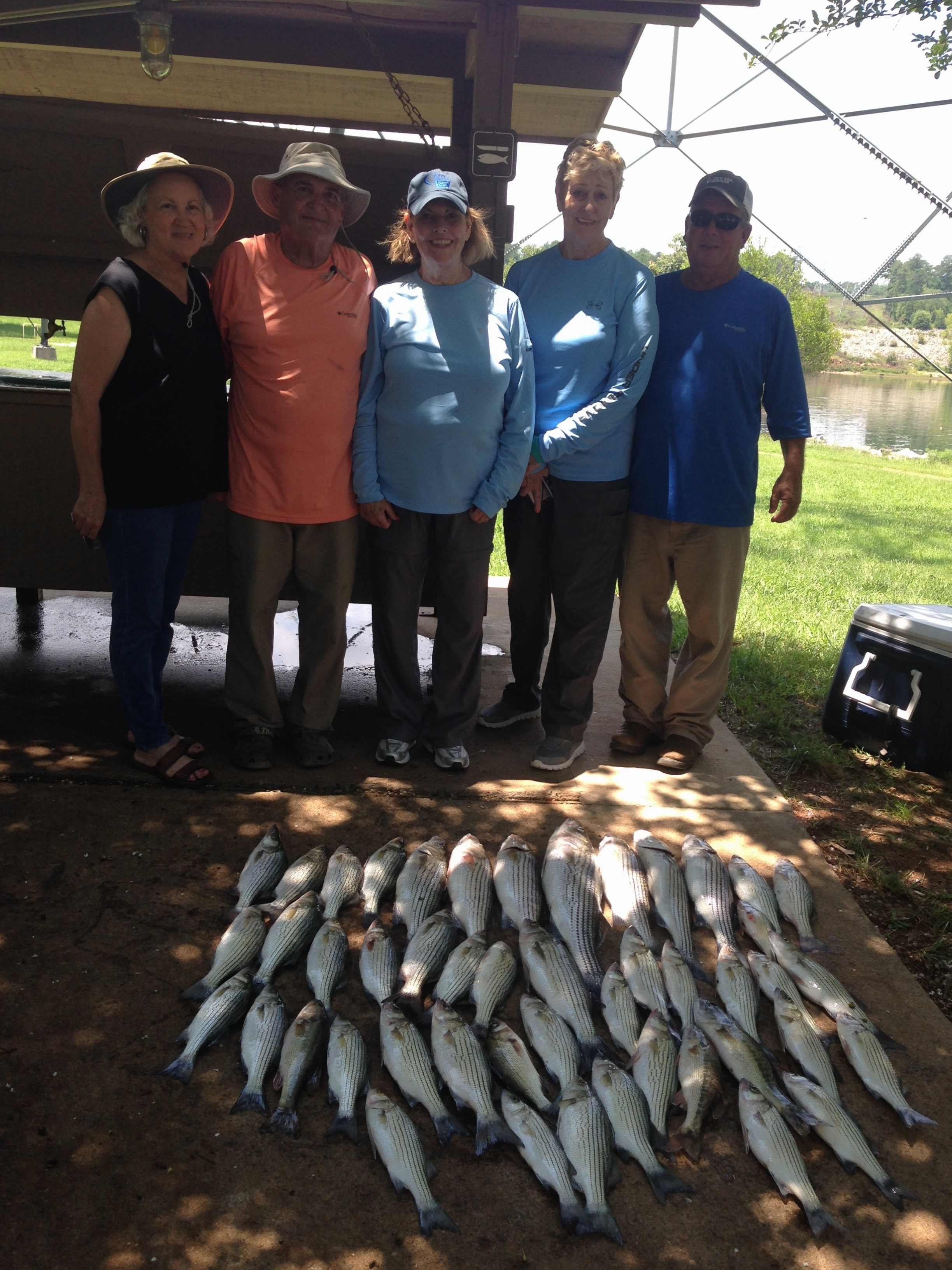 July 10, 2017 My wife Lucy, Her brother Ricky Cleghorn, his wife Juanita, Cindy and Phil Gilley all from Sycamore, Ga. with their catch of the day.