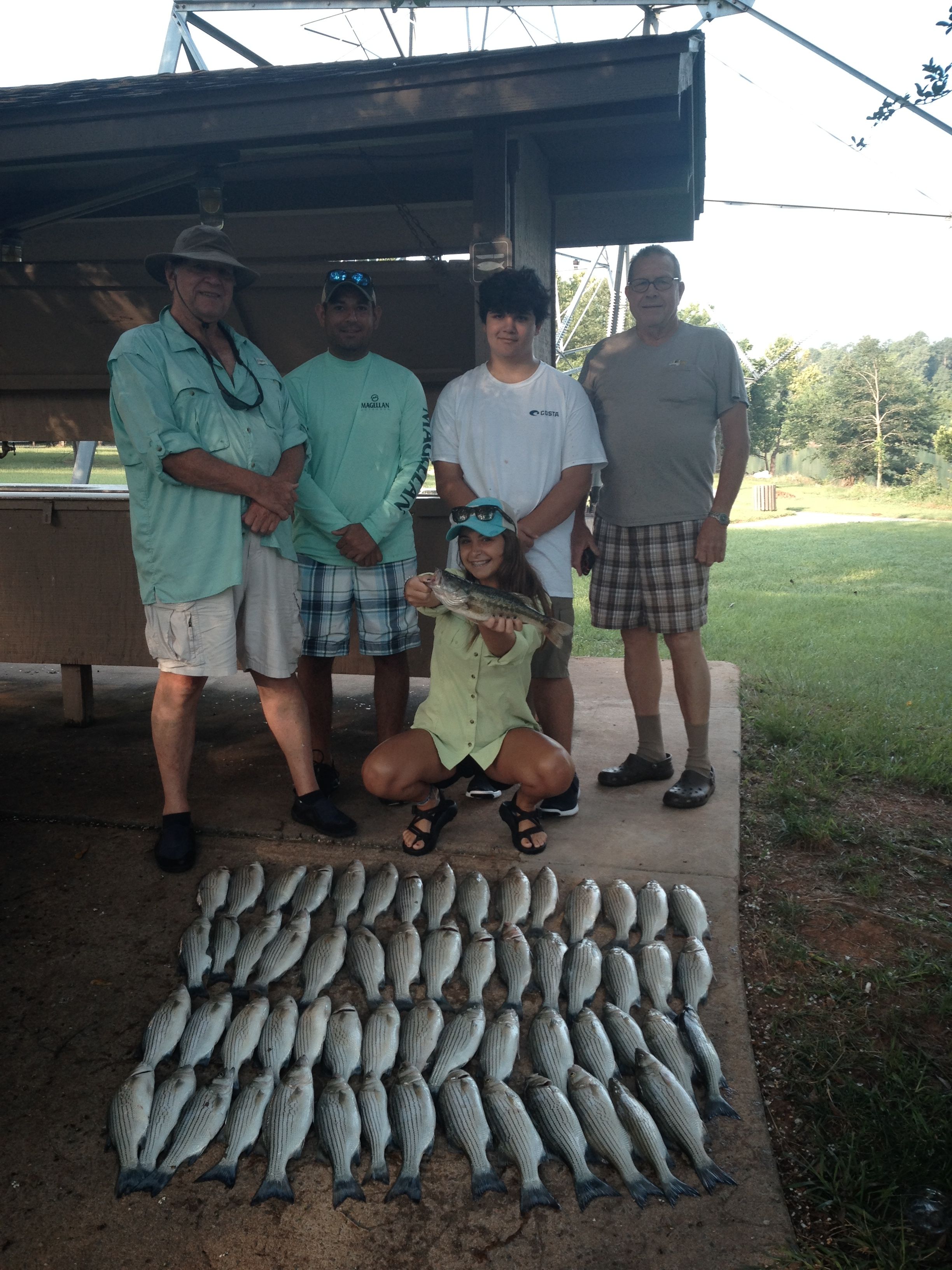 July 8, 2017 RayWalker, Robert Robinson, Reese Perez, Ronnie Walker, and Daphne Walker with their limit of stripers and hybrids