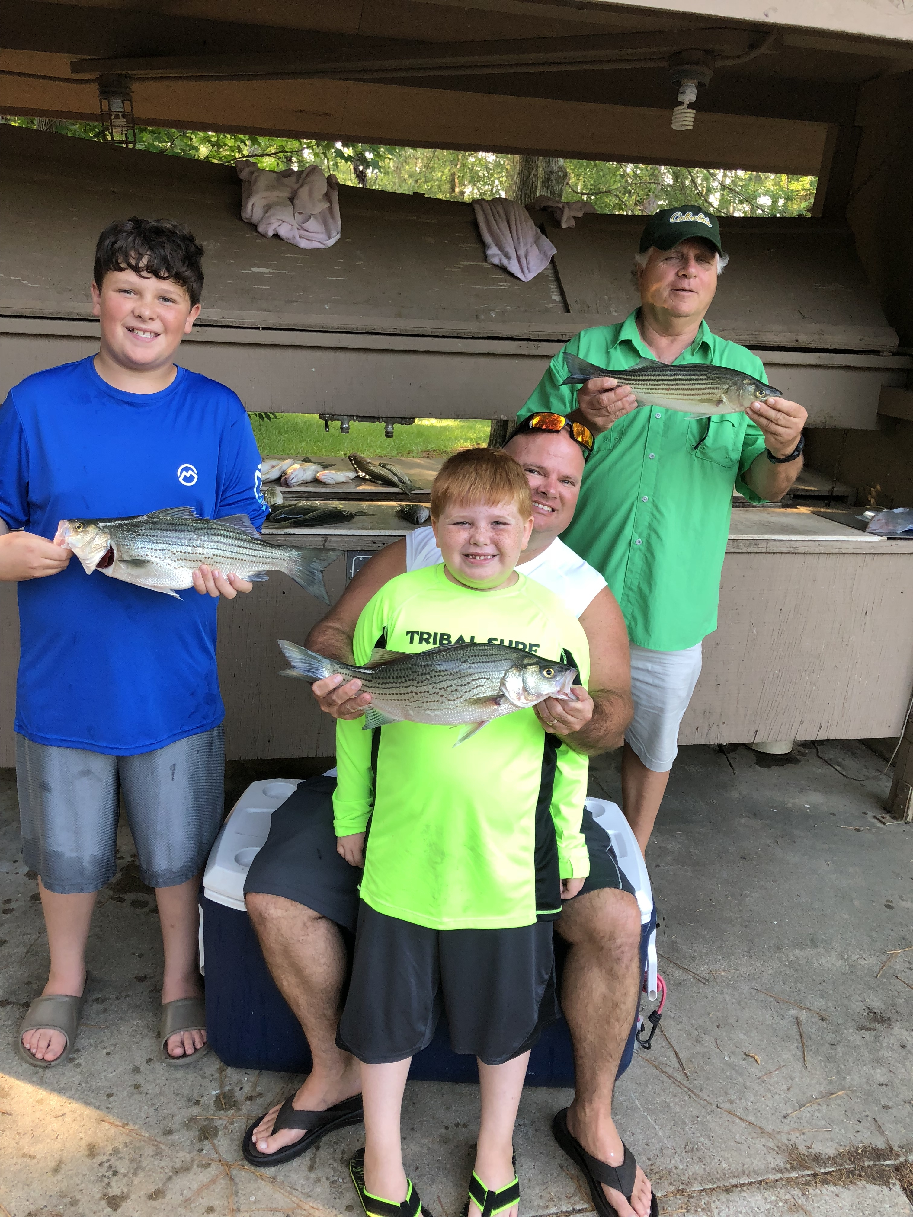 June16, 2018 My son Jim , his two boys James and Bentley his father -in -law Jim Thouvenot with three of the 30 fish they caught.IMG_2181
