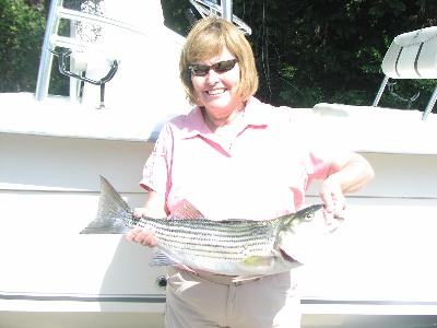 Juanita Cleghorn with her 11 pound striper.