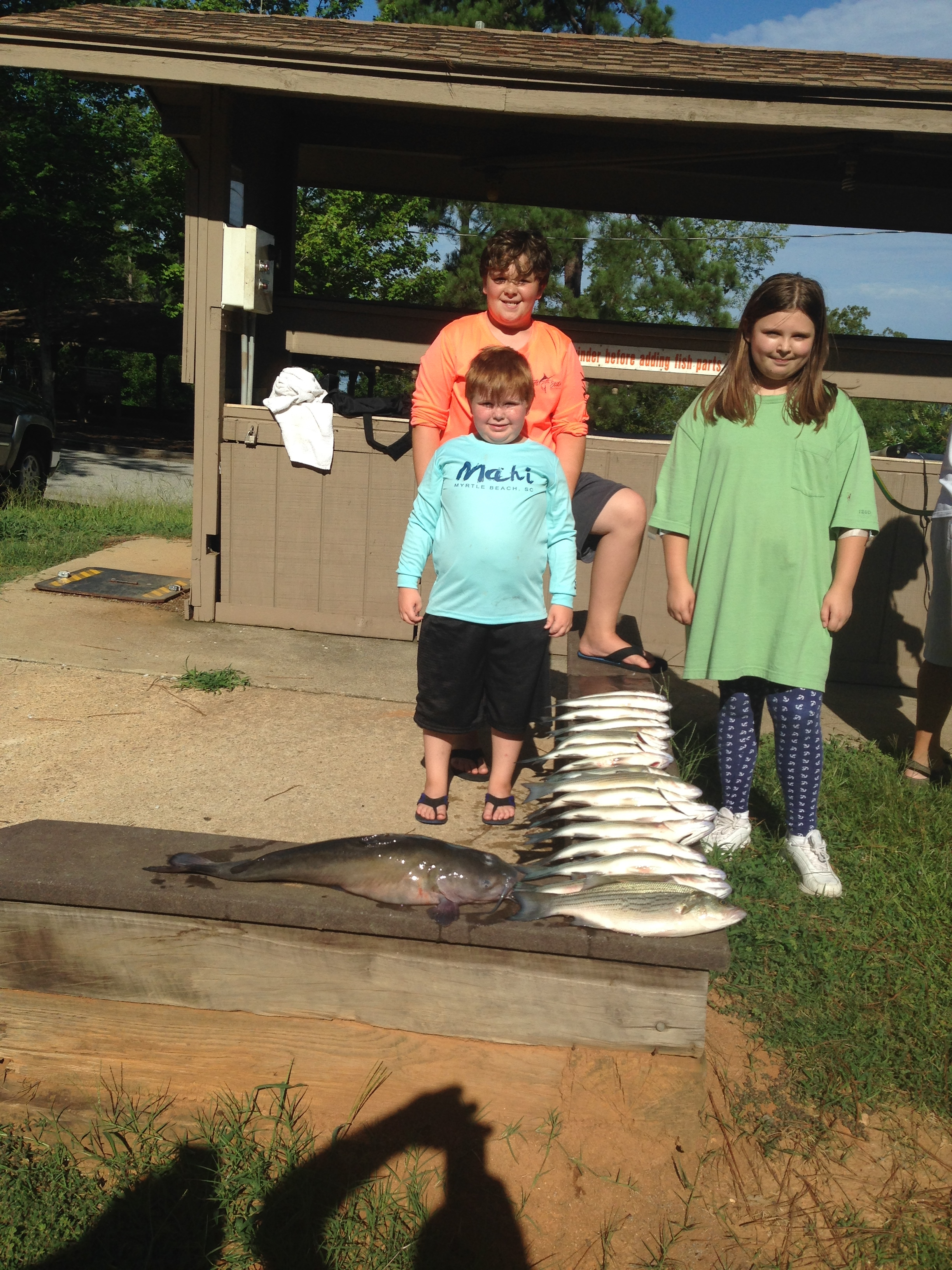 July 15, 2017 James, Bentley Murphy with their cousin Abby Murphy fish they caught fishing with their Poppa Billy