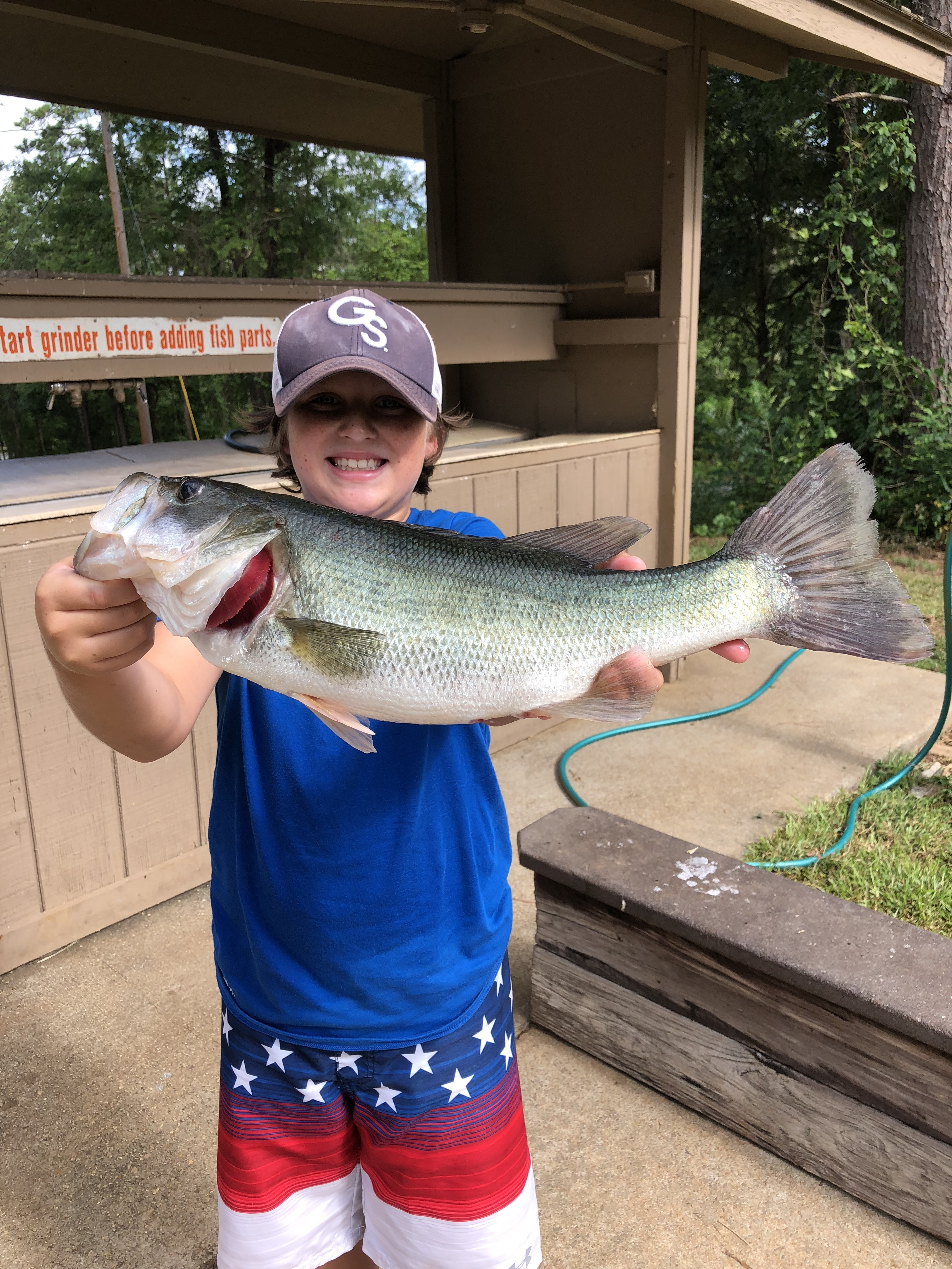 July 5, 2018 Kase Dye with his big large mouth bass. IMG_2250