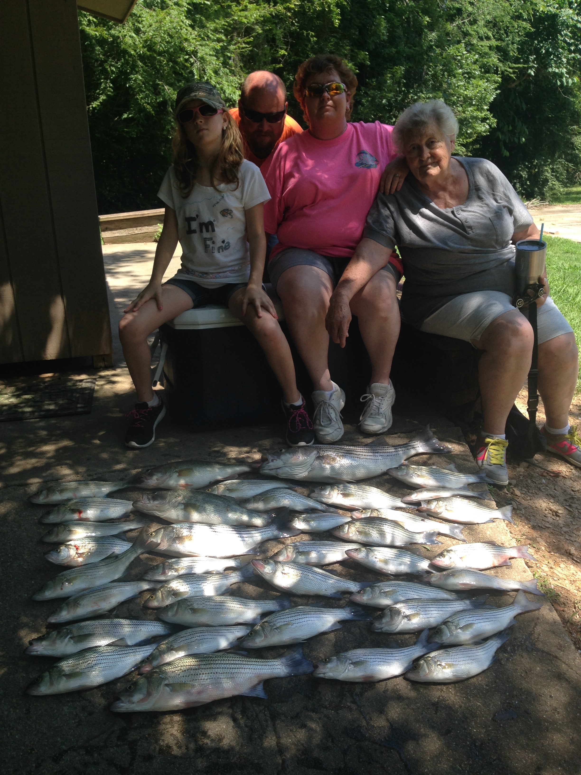 May 29, 2017 Becky, Tiffany, Becky's Mom Granny and Brad Murphy with there 40 fish.